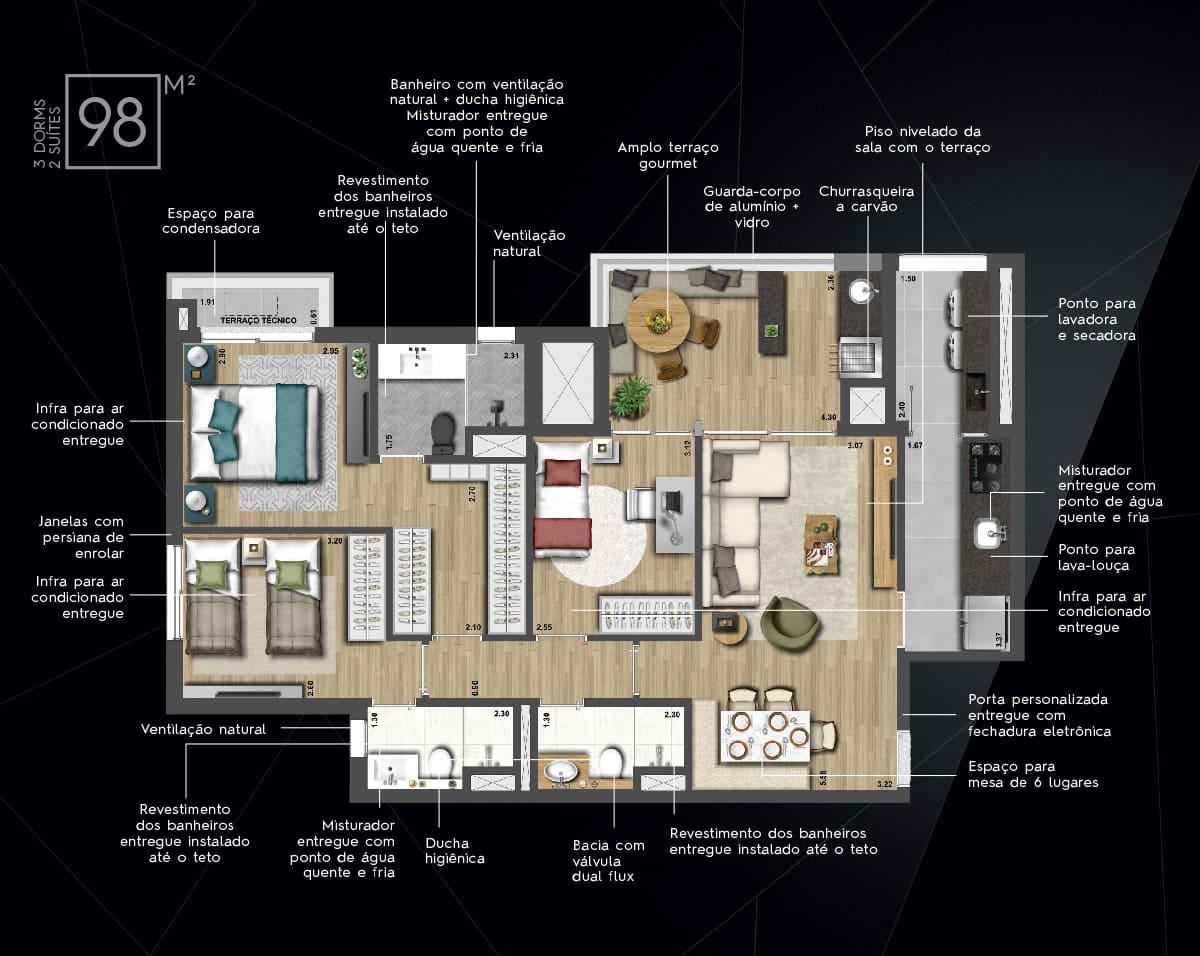 98 m² - 3 dorm