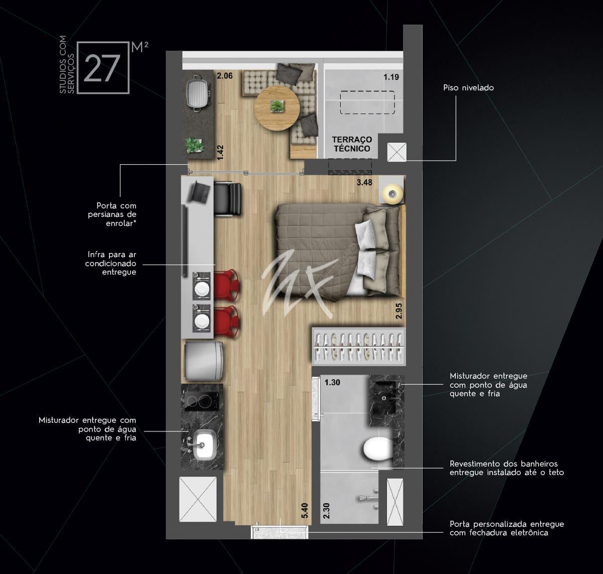27 m² - Studio