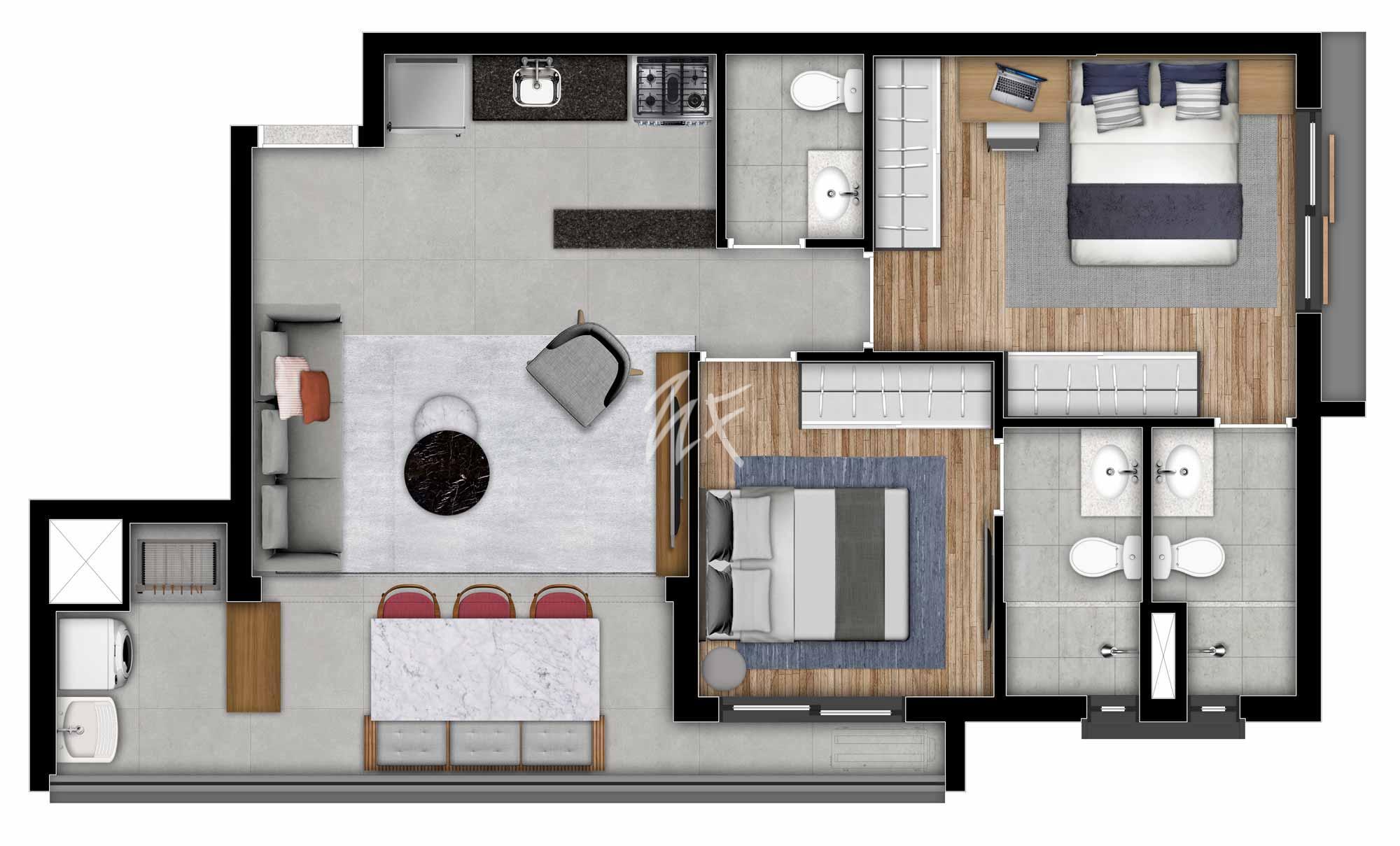 2 Domitórios - Sala ampliada