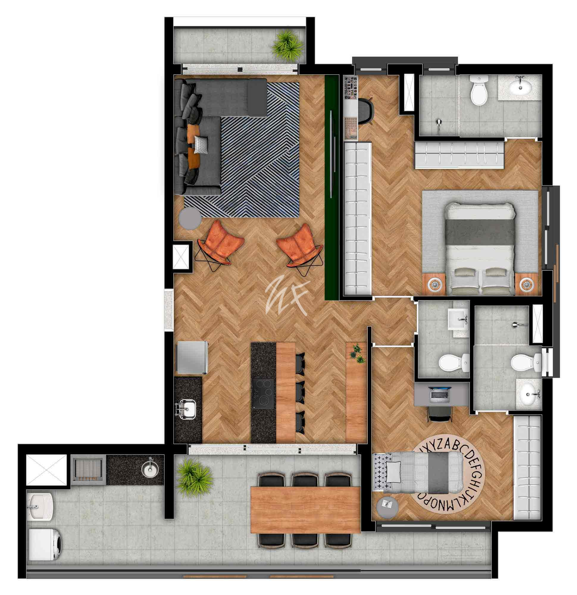 3 Domitórios - D (sala ampliada)